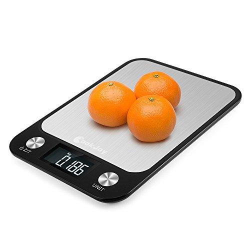 Báscula cocina digital 1g a 10kg CookJoy      Peso cocina digital Acero Inoxidable con Gran Pantalla LCD   Balanza cocina Multifuncional   Escala de Alimentos        Caracteristicas:           - Medida precisa      Medidor de tensión sens...