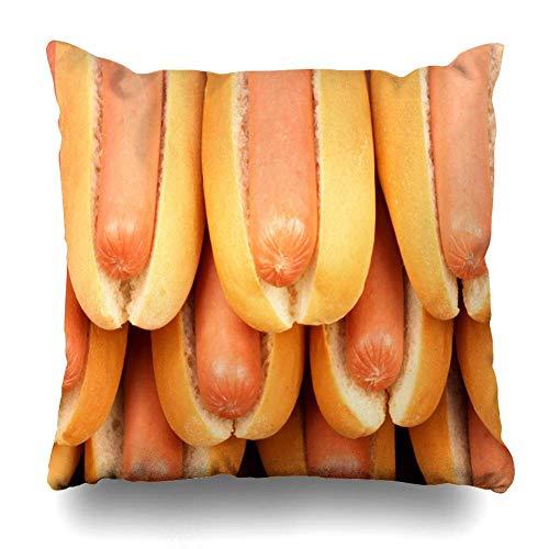 Sunny R Kissenbezug Mittagessen Picknick Hot Dog Zutaten Auf Nizza Tisch Pick Essen Trinken Brötchen Hotdog Relish American Bacon 20×20 Zoll American Relish