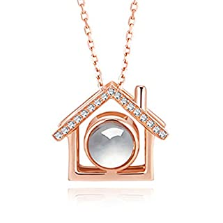"""S925 Sterling Silver Necklace Memory Languages Projection 100 Languages to Express """"I Love You Creative Gift Necklace for Women and Girls(Rose Gold C)"""
