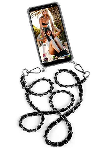 ONEFLOW® Umhängehülle mit stylischer Handykette aus Metall passend für Samsung Galaxy S8 | Edle Metallkette + klares Backcover, Silber Schwarz