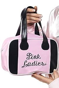 Smiffys-32043 Licenciado Oficialmente Bolsa para Bolos Pink Lady de Grease, con Logotipo, Color Rosado, No es Applicable (Smiffy