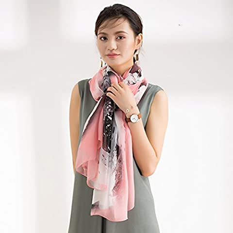 The winter all-match long spring dual-purpose mulberry silk shawl,powder