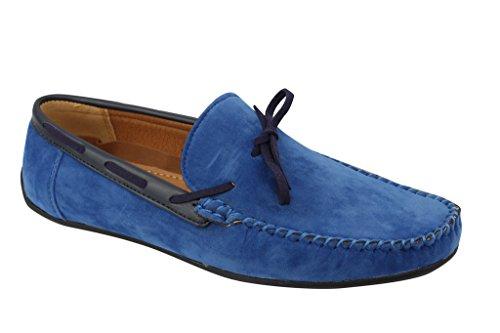 Homme Noir Brun Bleu marine imitation daim Chaussures Smart Casual Mocassin mod antidérapant sur la conduite en cuir Bleu - bleu