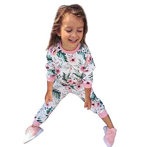 2 Stücke Kleinkind Infant Baby Mädchen Blätter Blumendruck Tops Hosen Outfits Set -