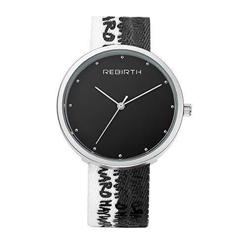 25-FANYUHONG Herren Canvas Strap Watch einzigartige Quarz Business Casual großes Gesicht Kleid Armbanduhr Zifferblatt (Weißes Gesicht, Schwarze Band-uhr)