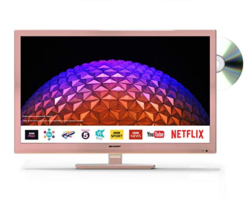 Sharp LC-24DHG6001KFR 24 Inch HD Ready Smart TV/DVD Combi with Freeview HD (Rose Pink)