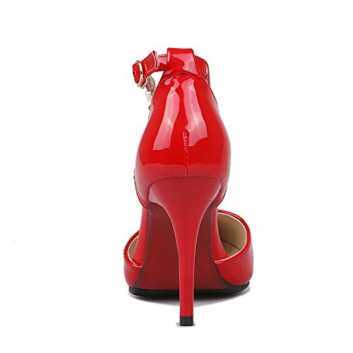BalaMasa Girls D Stilettos Solid Spikes-pompe-Scarpa in pelle verniciata Red