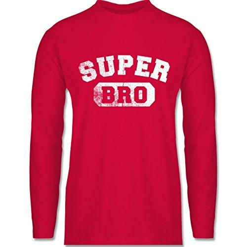 Shirtracer Bruder & Onkel - Super Bro - Vintage-&Collegestil - Herren Langarmshirt Rot