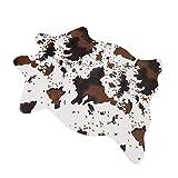 Morbido tappeto in finta pelliccia di pecora, per camera da letto, divano e pavimento, ideale anche come coprisedia, Pelliccia ecologica, Cow, 75x110cm