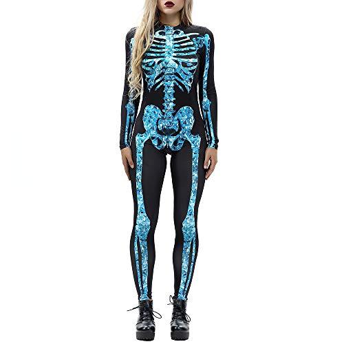 Mitlfuny Frauen Jumpsuit Skelett Strumpfhose Knochen Nylonstrumpfhose Helloween KostüM