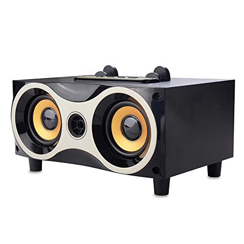 LOEROY Bluetooth Holzlautsprecher, Kabellose Portabler-Subwoofer-Stereo mit UKW-Radio, MP3 / WMA-Wiedergabeformat, Sprachansagen und Wiedergabe (Mp3-player Leistungsstarke)