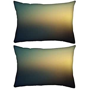"""Pack of 2 Sunset Color Design Rectangle Toss Throw Pillow Cushion Cover Decoarative Pillow Cover 12 x 20"""""""