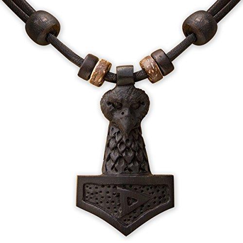 HANA LIMA ® Thorshammer Thor Hammer Mjölnir Holzschnitzerei Lederkette Halskette