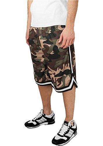 Urban Classics Herren Sportshorts Camo Stripes Mesh Shorts, Mehrfarbig (Woodcamo/Blk/Wht 00518), W40 (Herstellergröße: 3XL) (Lee Shorts Classic)