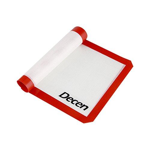 Decen silikon backmatte für half size plätzchen blatt mit roter grenze  16 5x 11 6Zoll  2 pack