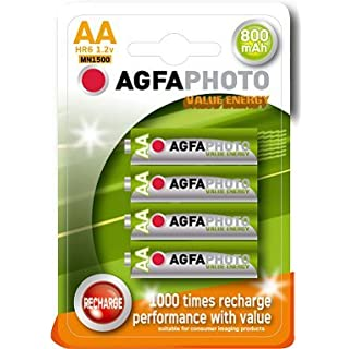 4 x AGFA AA 800mAh RECHARGEABLE BATTERIES 1.2V NiMh HR6