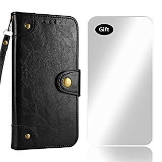 Bear Village Case Sony Xperia XZ Premium, Flip Wallet PU Leather Case Retro Folio Bookstyle Cover with Free Tempered Glass Screen Protector for Sony Xperia XZ Premium (#4 Black)