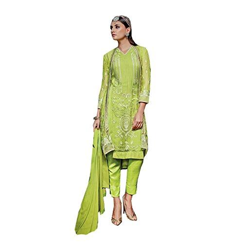Manav Fashion Women's Light Green Color Faux Georgette Fabric Embroidered Semi Stitched...