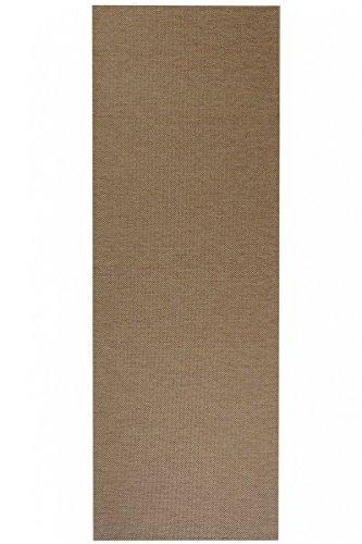 havatex Flachgewebe Teppich Sahara Läufer - robuste Kunstfaser in Edler Sisal-Optik | schadstoffgeprüft pflegeleicht | für Schlafzimmer Büro Flur Diele, Farbe:Cognac, Größe:80 x 500 cm