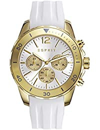 Esprit Haylee Women's Quartz Watch with Silver Dial Analogue Display and White Silicone Strap ES108262002