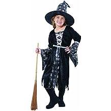 Spinnenhexe - Hexenkostüm für Kinder Halloween silber-schwarz inkl. Hut, Hexenkostüm Mädchen