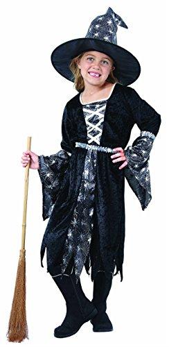 (Magicoo Spinnenhexe - Hexenkostüm Kind für Kinder Silber-schwarz inkl. Hut, Hexenkostüm Mädchen (134/140))