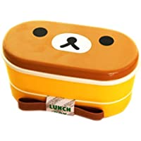 2 Layer Cute Cartoon Brown Bear Lunchbox Bento Lunch Box Food Container With Chopsticks Japanese Style Plastic Lunch
