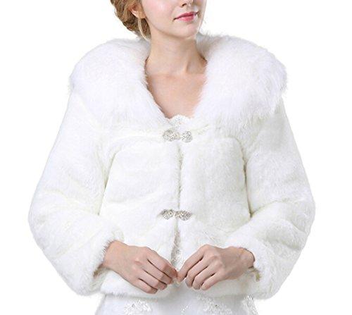 Icegrey Damen Winter Kunstpelz Wrap Schal Cape Stola mit Bowknot für Brautkleider Weiß