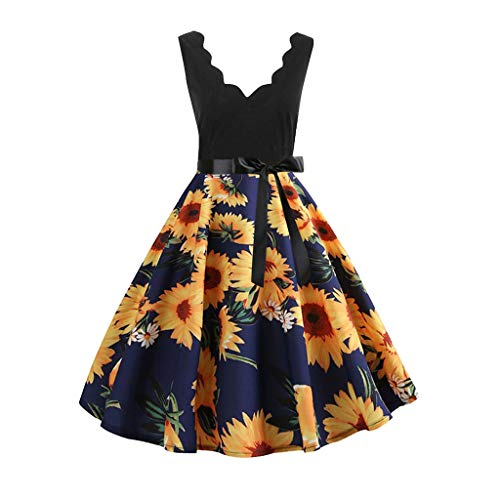 Damen-Kleider KUKICAT 1950er Ärmellos Retro ärmellose Elegante Hepburn Abendkleid Damenrock Party V-Ausschnitt Faltenrock Cocktailkleid Tanzkleid Printkeid