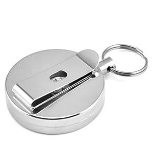 SODIAL(R) Acero retractil llavero Holder Recoil Cinturon Key Ring Tire Clip Cadena de SODIAL(R)