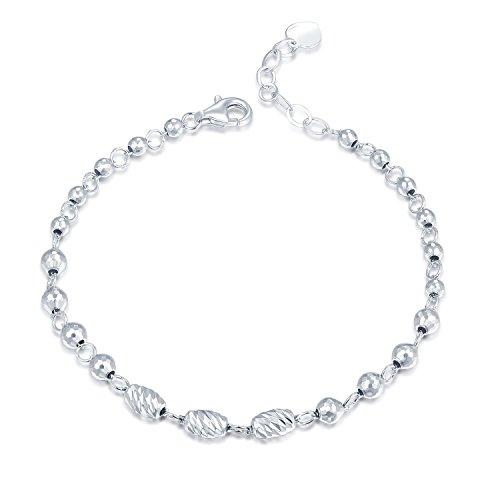 MaBelle - Perles Coupe Diamant Connecté Bracelet Femme Bijoux Cadeau - Argent Sterling 925 - 16.5cm