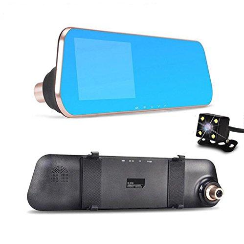 Dual Objektiv Spiegel Kamera, happton 10,9cm Full HD 1080p 170° Weitwinkel Auto Camcorder + Night Version Rear View Backup Kamera mit Parking System