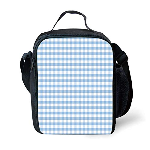 MLNHY School Supplies Checkered,Little Squares and Stripes Pastel Color Gingham Repeating Rows Vintage Tile,Light Blue White for Girls or Boys Washable