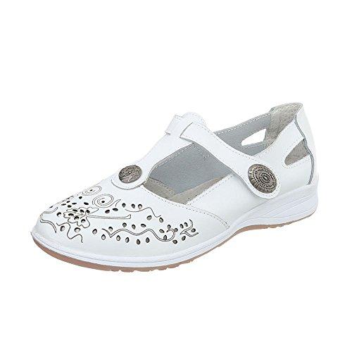 Ital-Design Schnür- & Riemchenpumps Leder Damen-Schuhe Klettverschluß Pumps Weiß, Gr 37, 5012- (Weiße Nieten-pumps)