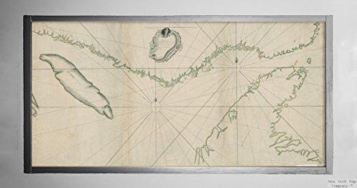 New York Map Company 1756 Karte Kanada, Neufundland und Labrador, Belle Isle, Strait of Saint Lawrence River Plan du d, Historischer Vintage-Stil, Nachdruck, fertig zum Rahmen.