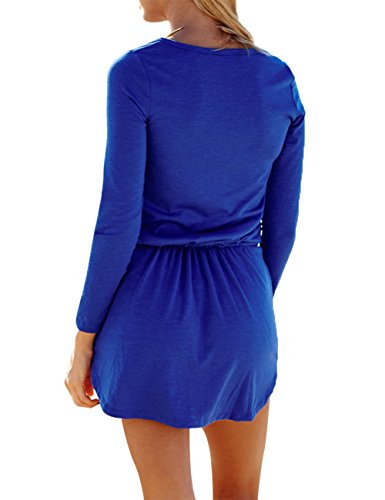 YesFashion Femme Robe mini Manches longues col rond Uni corde ceinture Robe casual Doux Bleu