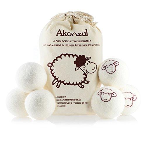 AkoAzul Trocknerbälle 6er Pack - Ideal als natürliche Alternative für Weichspüler. Aus 100% neuseeländischer Premium-Schafwolle. Pflegend, umweltschonend, zeit- und kostensparend. Wäschetrockner Bälle (6er Pack, Schaf)
