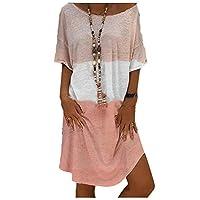 فستان قصير غير رسمي برقبة دائرية فضفاض بلون كتلة واسعة للنساء من DUe زهري L
