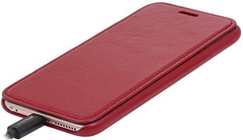 StilGut Book Type Case, Hülle Leder-Tasche für iPhone 6 Plus und iPhone 6s Plus. Seitlich klappbares Flip-Case aus Echtleder für das Original iPhone 6 Plus und iPhone 6s Plus (5,5 Zoll), Rot Nappa Rot Nappa