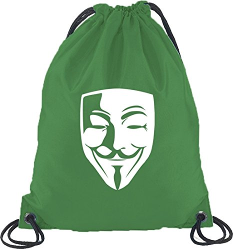 Shirtstreet24, Anonimo Maske, Guy Fawkes Vendetta Turnbeutel Zaino Sport Beutel Kelly Green