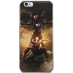 FrogLoveStore Coque Transparente pour iPhone 6 6S 7 8 Plus X XS Max XR Spiderman vs Iron Man Avengers Endgame iPhone 6 / 6s Transparent