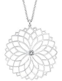 Noelani Damen-Halskette mit Floralem Plaketten-Anhänger rhodiniert mit  Einem Kristall von Swarovski aab344344e