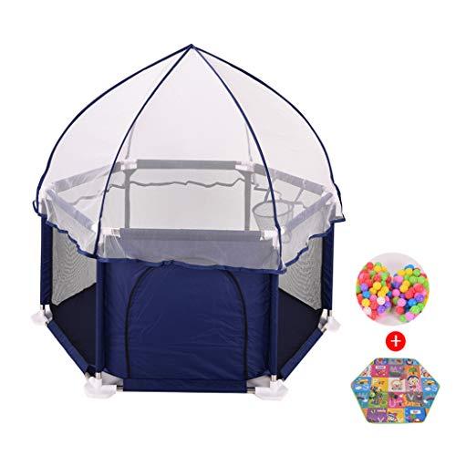 XSJ-Laufgitter Baby Laufstall | Kleinkind Spielen Yard | Kindersicherheitszaun/Kugellager Zelt | zum Reisen/Drinnen draußen Spielplatz (Farbe blau) -