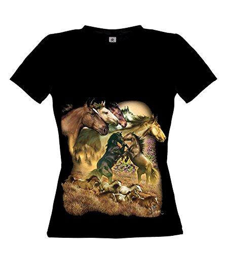 Ethno Designs Wild Horses - Chevaux Streetwear T-shirt pour Femmes - Motif d'animal Shirt Noir