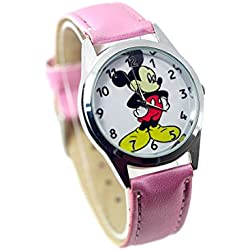 TAPORT® MICKEY MOUSE Quartz Watch Pink Leather Band Disney +FREE SPARE BATTERY+FREE GIFT BAG