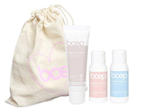 boep baby auf reisen - Natürliche Babypflege im Geschenkset mit Reisegrößen - Pflegeset für Babys und Kinder (Bodylotion, Shampoo und Babycreme à 50 ml) in einem Bio-Baumwollbeutel