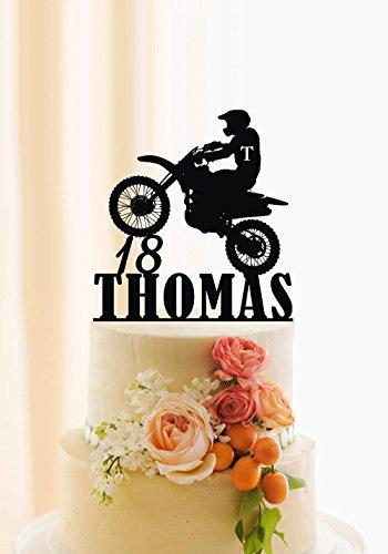 Qidushop Moto gâteau d'anniversaire de gâteau personnalisé Nom et âge Dirt bike gâteau Décor Motocross VTT pour gâteau (Bike Gold Dirt)