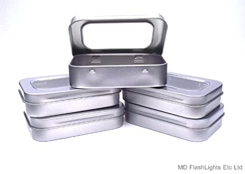 5 x Mini Silver Hinged Storage Tins With Viewing Window