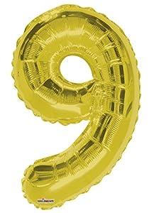 Globo de lámina de Aluminio con el número 9 de 86,36 cm, Color Dorado