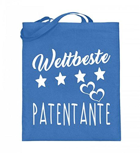 Hochwertiger Jutebeutel (mit langen Henkeln) - Weltbeste Patentante Blau